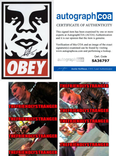 """SHEPARD FAIREY signed """"OBEY ICON"""" 8X12 PHOTO - PROOF - Andre The Giant ACOA COA"""