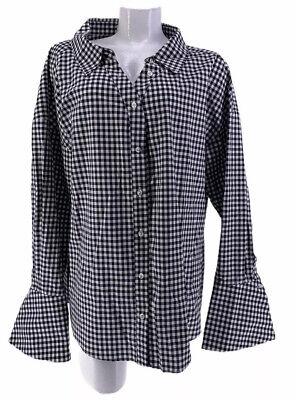 CAROLINE CONSTAS TOP SHIRT BLOUSE Newell Black White Checkered Large