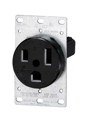 (Leviton 5374-S 50Amp 250V Flush Mount Power Receptacle, Black)