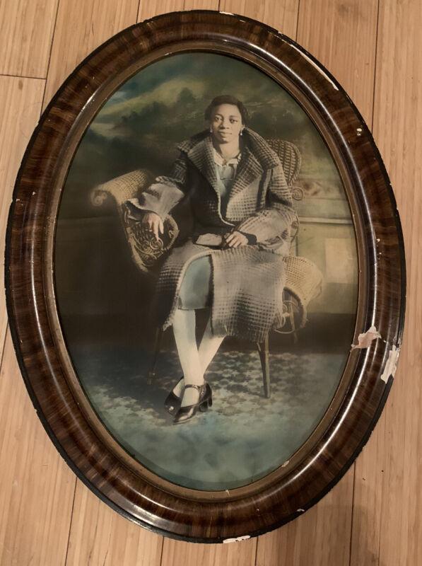 "2 Large Antique Sepia Photos Black Memorabilia ""Mrs M. E. Beasly"" & Cousin 1920"
