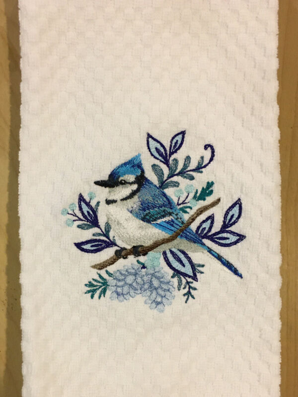 Blue Jay Bird Embroidered White Kitchen Waffle Weave Dish Hand Towel Winter