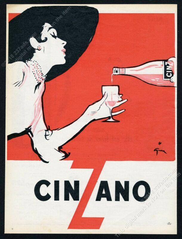 1953 Rene Gruau woman art Cinzano scarce French vintage print ad
