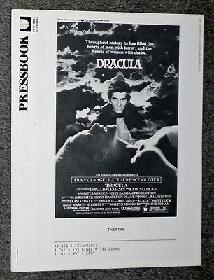 DRACULA original 1979 movie pressbook FRANK LANGELLA/KATE NELLIGAN