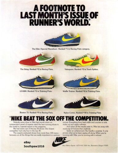 Classic Nike Running Collection Vintage Reproduction Print Ad.