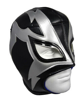 SHOCKER (pro-fit) Adult Lucha Libre Halloween Costume Mask - Black/Grey - Lucha Libre Costume Halloween