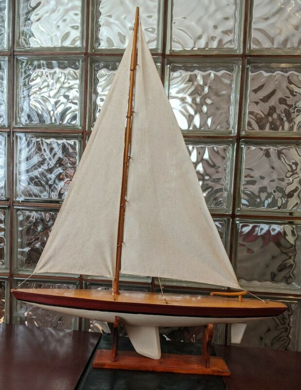 """Gorgeous Vintage Wood Pond Yacht model display sailboat with rigging .  31""""x 24"""""""