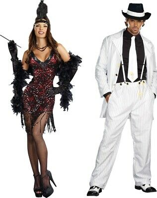 1920's Couples Halloween Costumes (Couples Costumes 1920s Adult Zoot Suit Flapper Gangster Mens Womens)