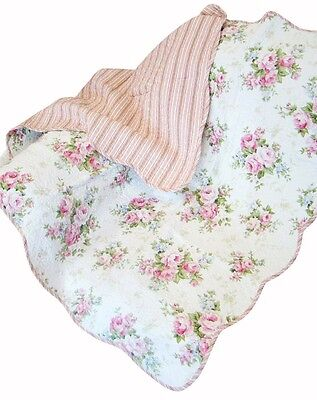 COTTAGE ROSE 50x60 QUILT THROW : PINK SHABBY ROSES SPRING FLORAL WHITE BLANKET