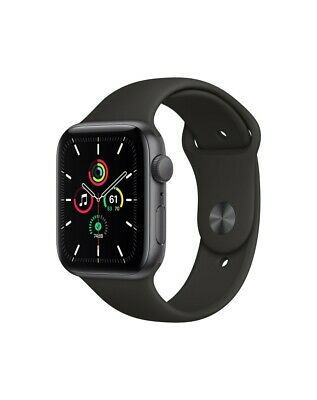 Apple Watch SE GPS, 44mm Space Gray Aluminium Case with Black Sport Band - Regul