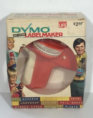 Vintage In Box Dymo 1800 Tapewriter Label Maker Original 1971 Red 38 Home