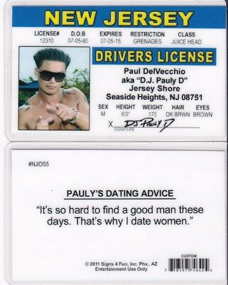 Jersey Shore Pauly DJ NEW JERSEY NJ Drivers License fake id card Seaside Heights
