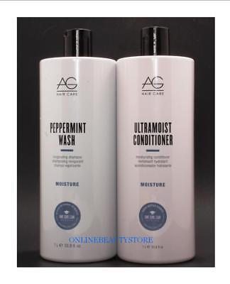 AG Hair Care Peppermint Wash Moisture Shampoo & Ulteramoist Conditioner 33.8 oz