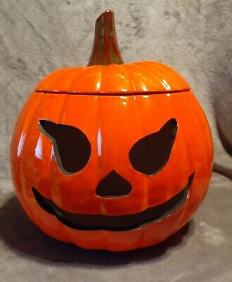 Vintage Hand Made Ceramic Halloween Jack-o-lantern Pumpkin 1978 ADORABLE