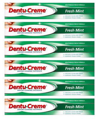 6x Dentu-creme fresh mint denture cleaning toothpaste dentu creme 75ml