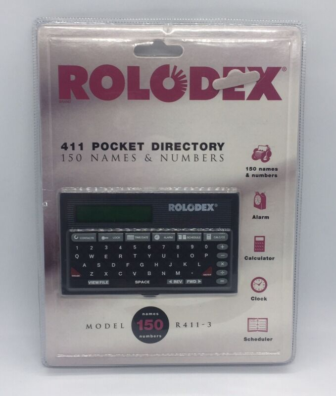 Vintage 93 Rolodex R411-3 Pocket Directory 150 Names & Numbers NEW & SEALED