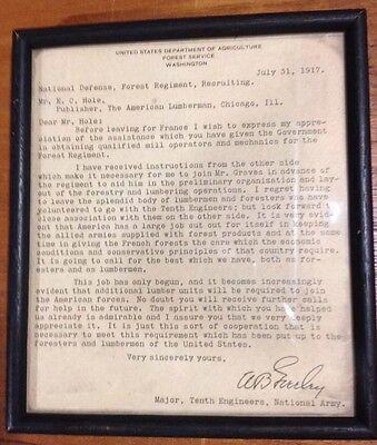 Vintage Singed LETTER 1917 William B. Greeley Major,tenth Engineers, Nat'l Army