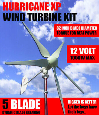 Hurricane Xp 12 Volt Wind Turbine Generator Kit 750 Watt 1000 Continuous