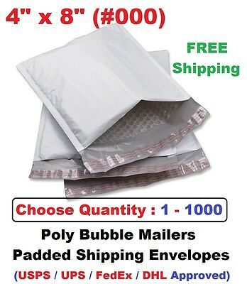 000 4x8 Poly Bubble Mailers Padded Shipping Envelopes Self Sealing Bags 1 -1000