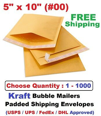 00 5x10 Kraft Bubble Mailers Padded Shipping Envelopes 1 5 10 25 50 100 1000