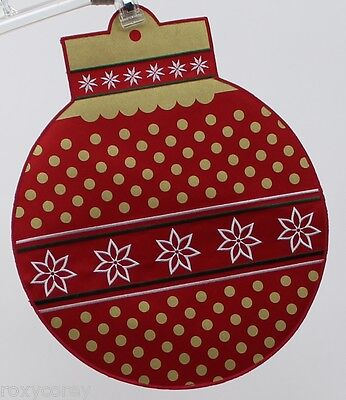 Red Round Placemats (Christmas Food Network 2 Red & Gold Round Ornament Placemat w/Embroidered)