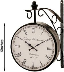 Platform  Double Sided Railway Station Analog Wall Clock Standard Black Antique