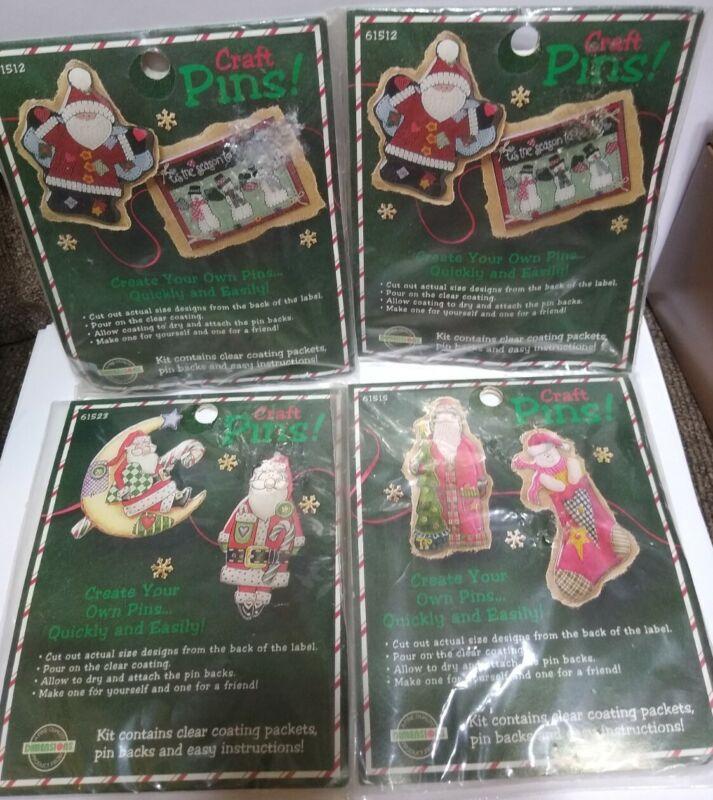 Christmas Craft pins Kits lot of 4 SANTA SNOWMAN 2 in each Dimensions 1995