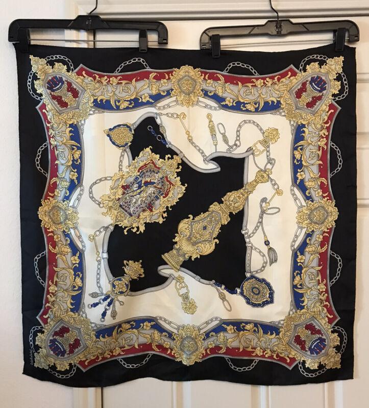 """Vintage Oscar De La Renta Studio 100% Silk Japan Scarf Status Chain 30"""" Square"""