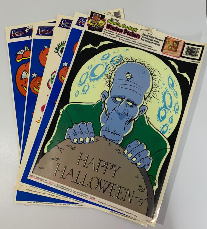 Vintage 90's Halloween Window Clings Lot Of 5 Sheets Lot-2