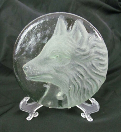 "Vintage Clear Frosted Textured Green Art Glass Wolf 5 3/4"" Decor or Paperweight"