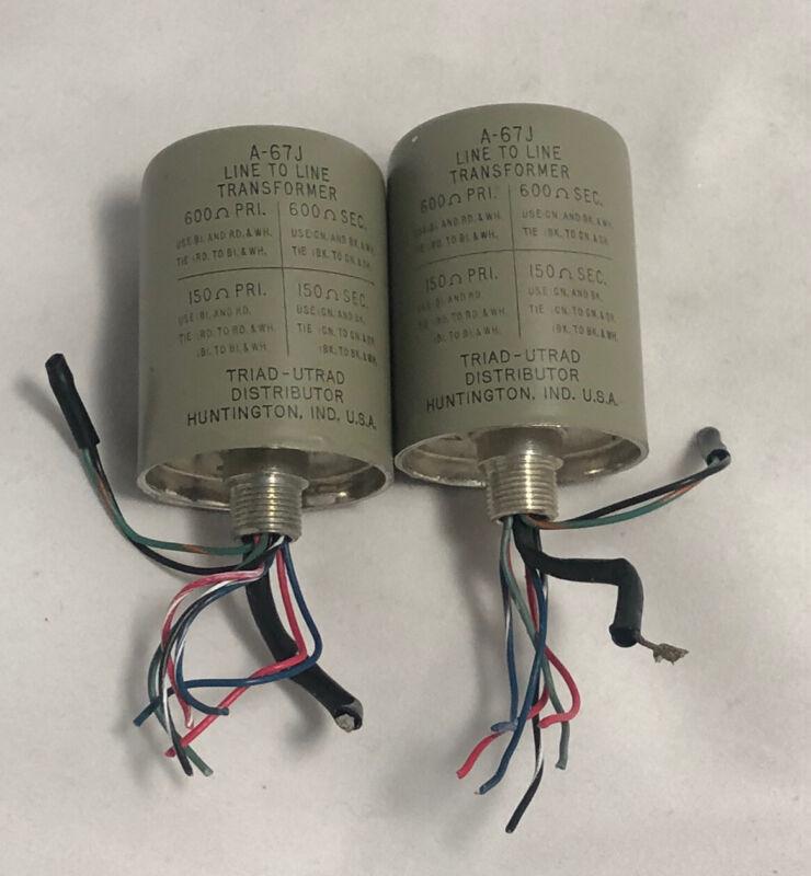 Vintage pair of TRIAD A67-J line transformers 600/150 ohm