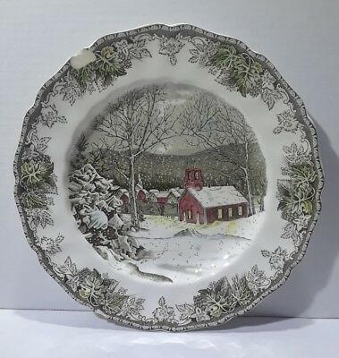 Antique Home Decor Hanging Plates BLACK WHITE Snowy Village 10