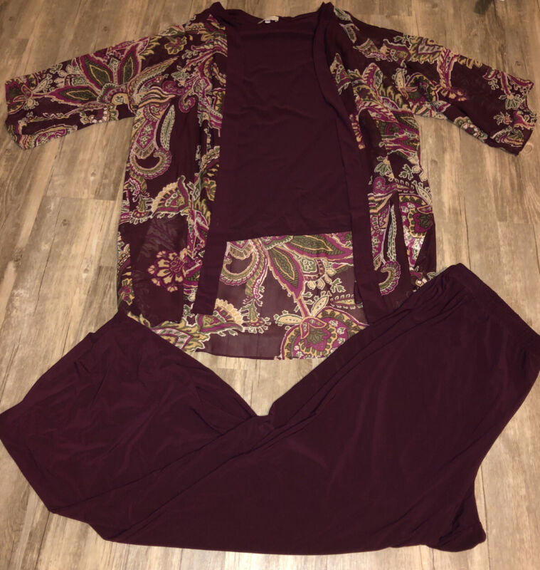 Appleseed  3 pc Burgundy Top Pants Outfit Set Size 20W  Plus Women