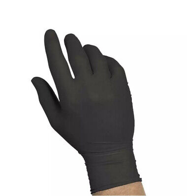 100-piece Black Nitrile Rubber Gloves Latex Powder-free By Sysco