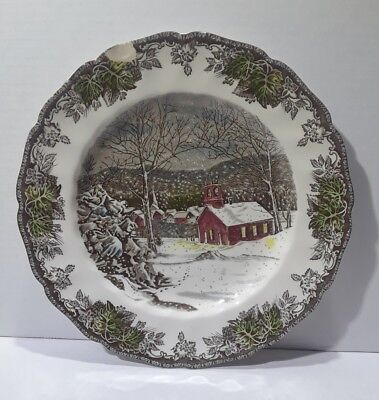 Antique Home Decor Hanging Plates BLACK WHITE Snowy Village Themed 10