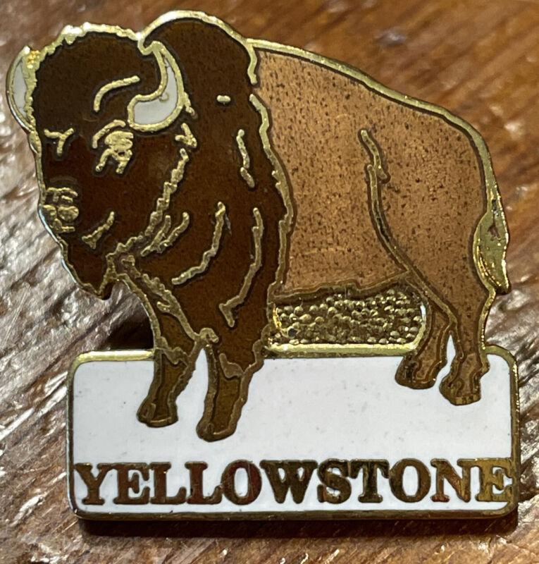 Vintage Yellowstone National Park Souvenir Pin Buffalo Bison Enamel