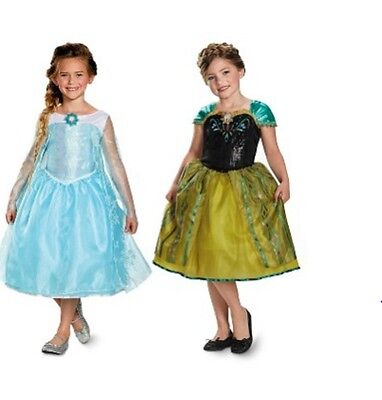 NWT DISNEY FROZEN DELUXE SEQUIN ELSA AND ANNA COSTUMES DRESS UP OUTFITS 2T 4-6