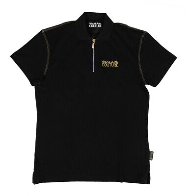 Versace Jeans Couture Black 100% Cotton Short Sleeve Polo Zip Shirt-