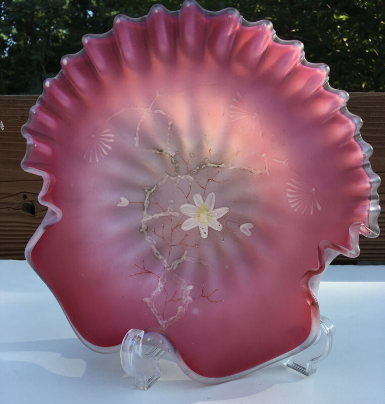 Victorian Pink Cased Glass Shell Shaped Dish