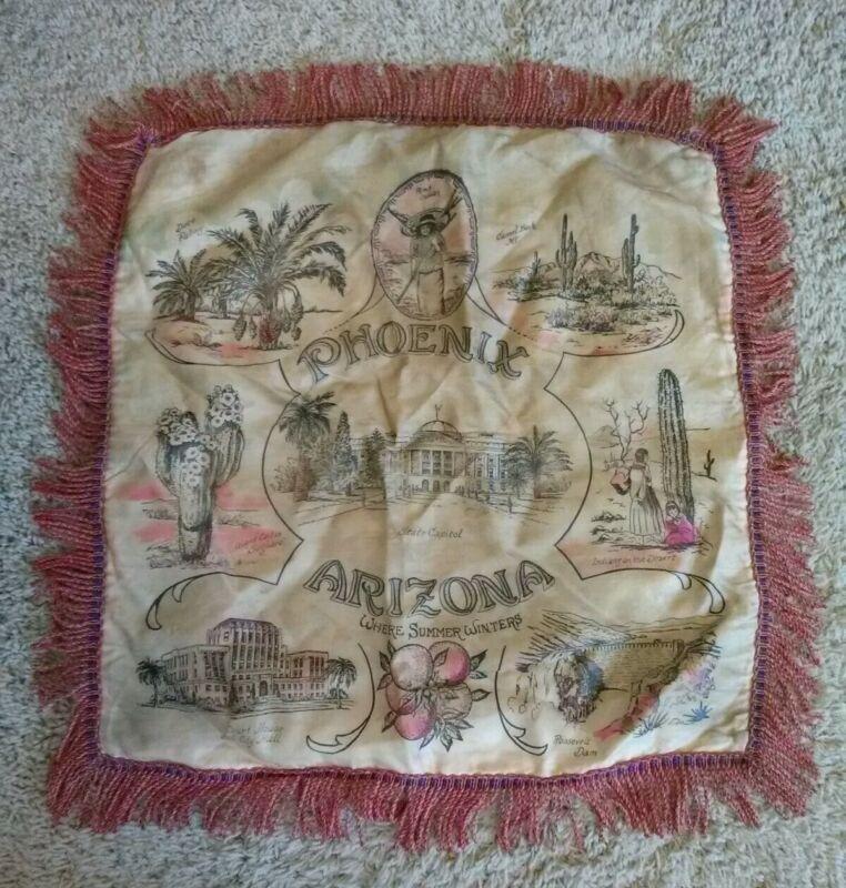 "Vintage Phoenix Arizona Fringed Souvenier Pillow Cusion Cover 16"" x 16"""