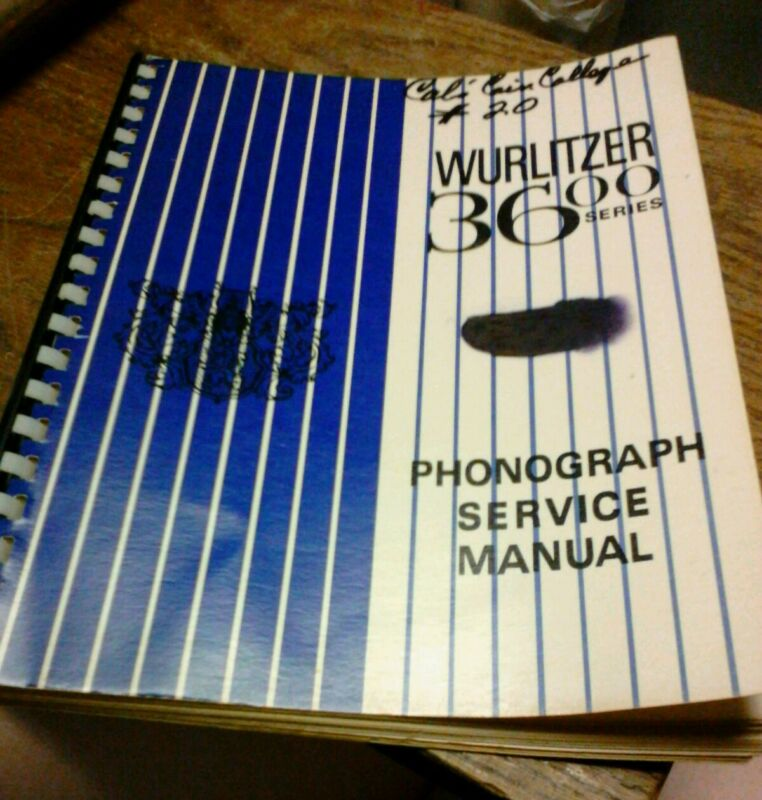 Wurlitzer 3600 Series Juxebox Service Manual - nicely bound reproduction