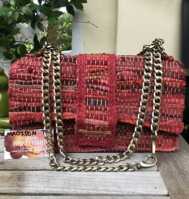 KOORELOO Soho New Yorker Red Leather Fabric Top Handle Shoulder Bag Chain Purse