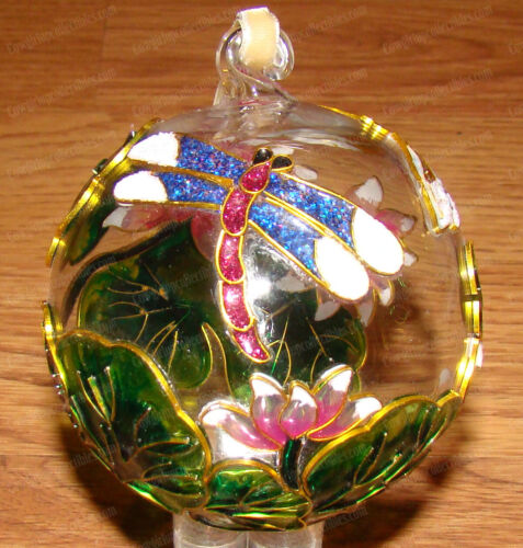 Dragonfly Cloisonne (1300S) Hand-Painted Enameled Glass Ball Ornament