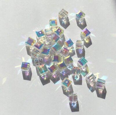 - Swarovski 4mm 5601 Square Beads - 36 beads - Clear AB - Bridal Wedding