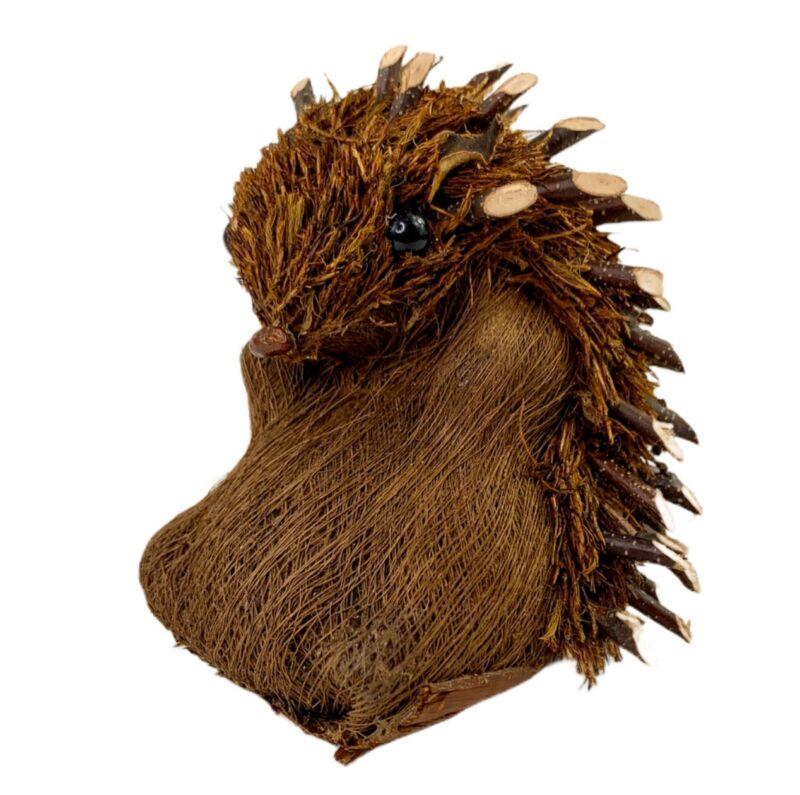 """Vintage Wood Pines Embellished Porcupine Hedgehog Figurine Adorable 5x5"""" NOS"""