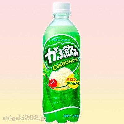Gabunomi Melon Cream Soda Pokka Sapporo PET Bottled Soda Made in Japan 500 ml