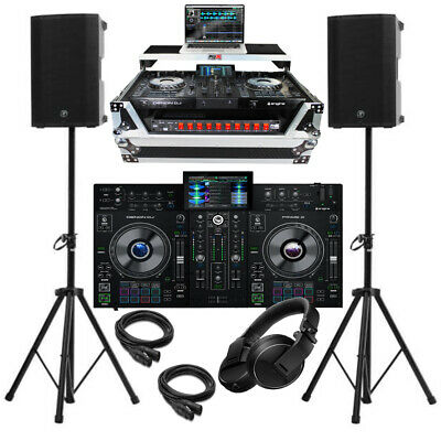 Complete DJ Package Denon Prime 2 2-Channel Controller Speakers, Silver Case