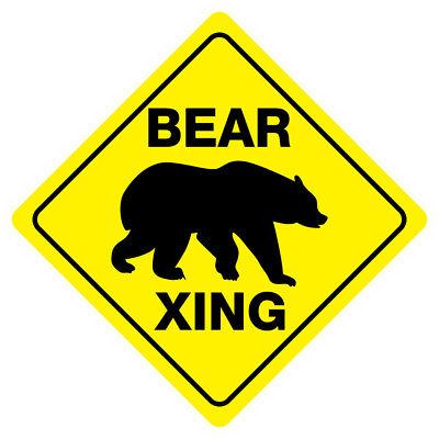 BEAR CROSSING Funny Sign Novelty