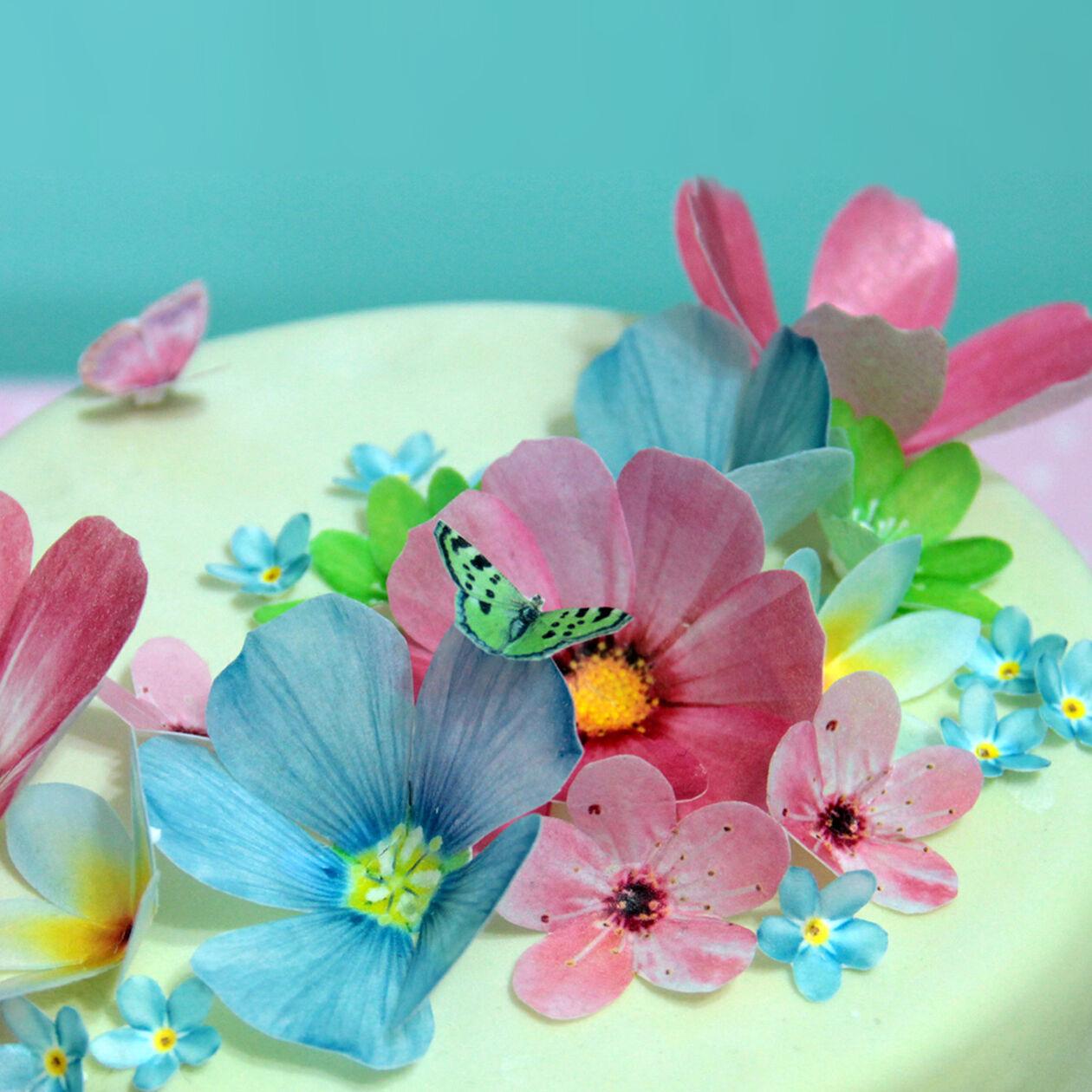 Eßpapier Tortendekoration Blumen Rosen Schmetterlinge Muffin Tortenaufleger NEU
