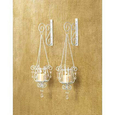 2 White Shabby Hurricane crystal hanging Candle Holder Wall hooks & Sconces pair ()