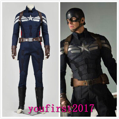 Captain America II Steve Rogers Cosplay Kostüm Karneval Halloween Party NEU